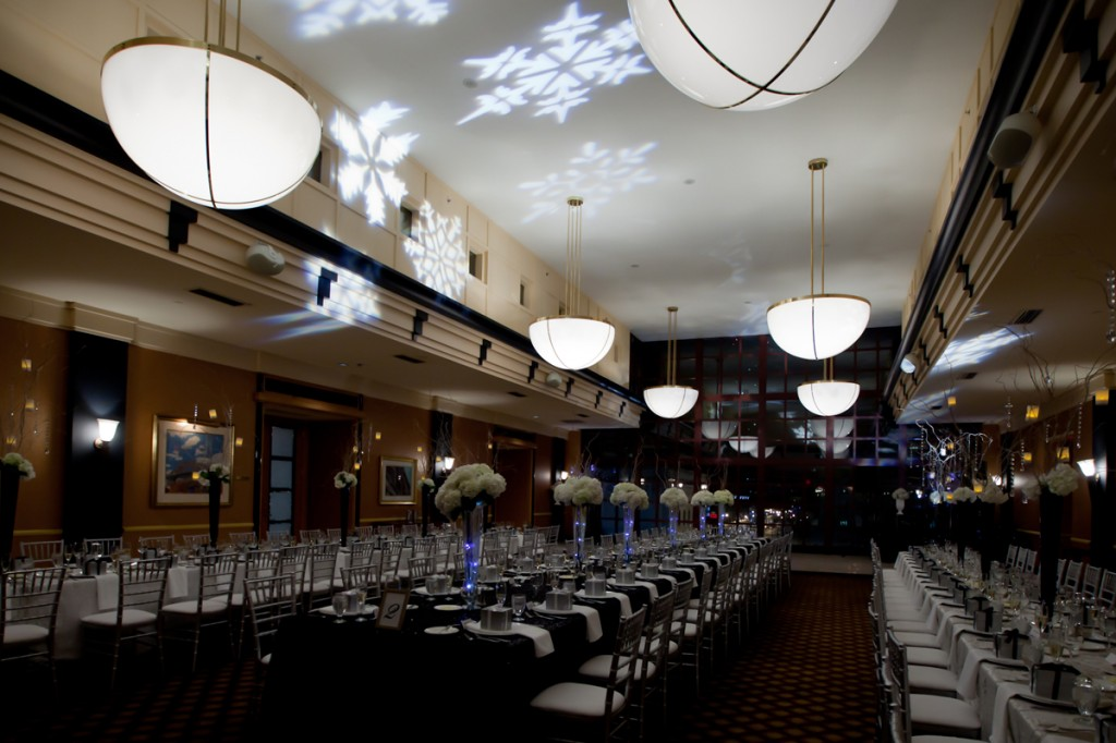 Silver Chivari chairs were used at the banquet style tables.