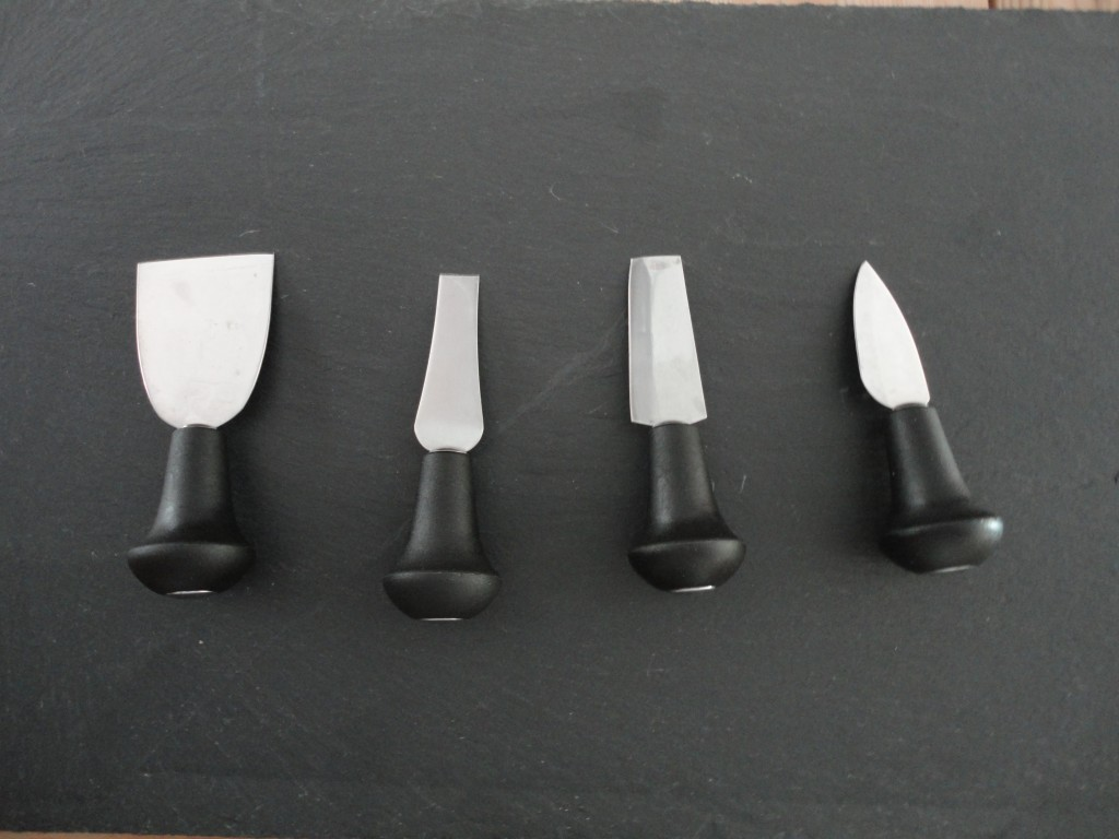 Cheese knives, cheese board, slate cheese board display