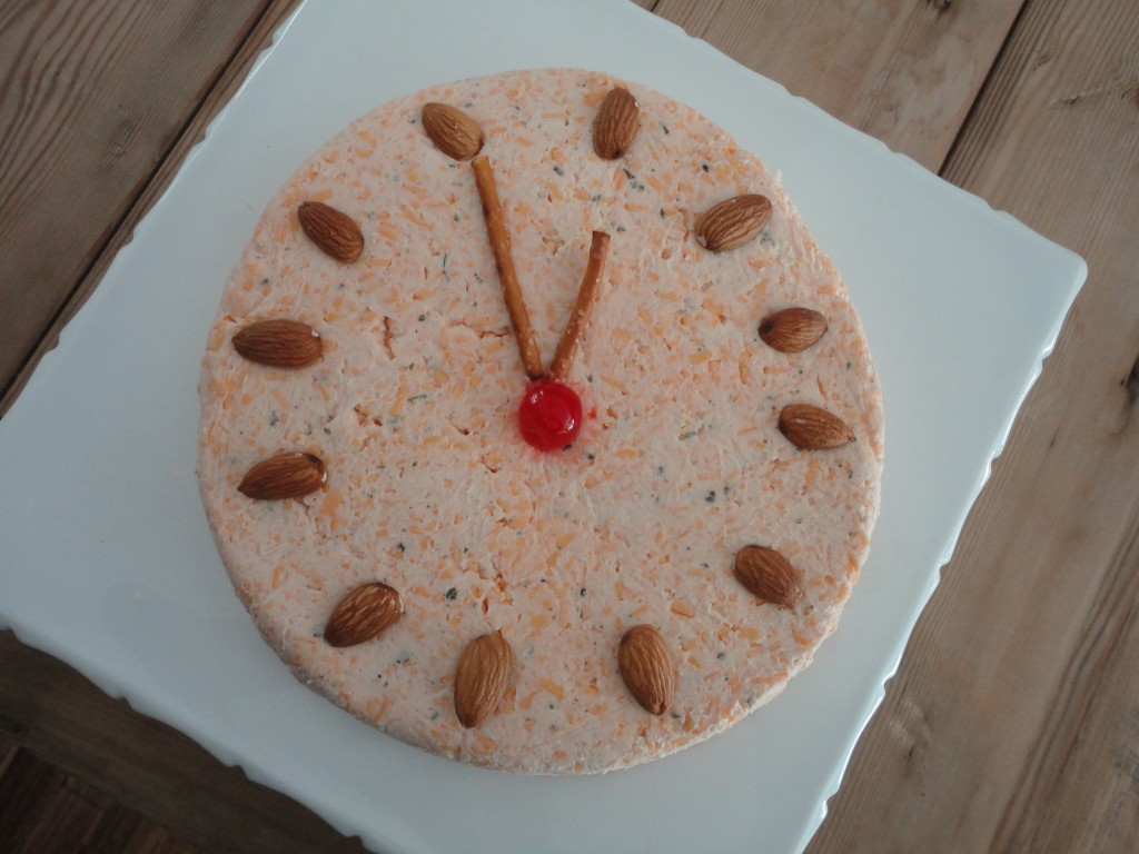 Cheese ball, custom cheese mold, clock cheese, cheese for New Year's Eve