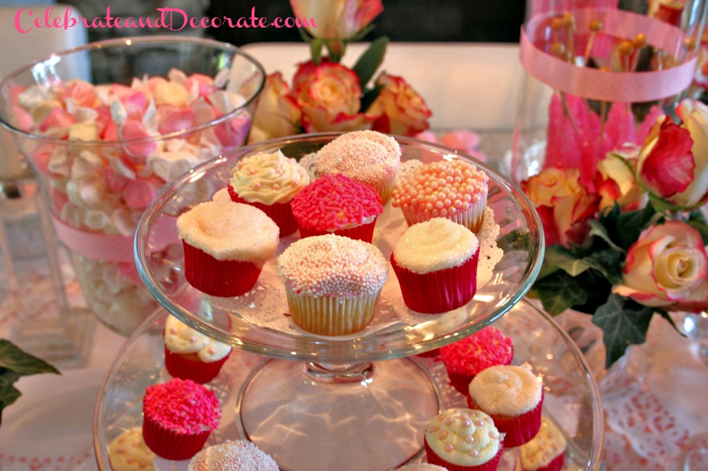 Pink and White Mini Cupcake Display
