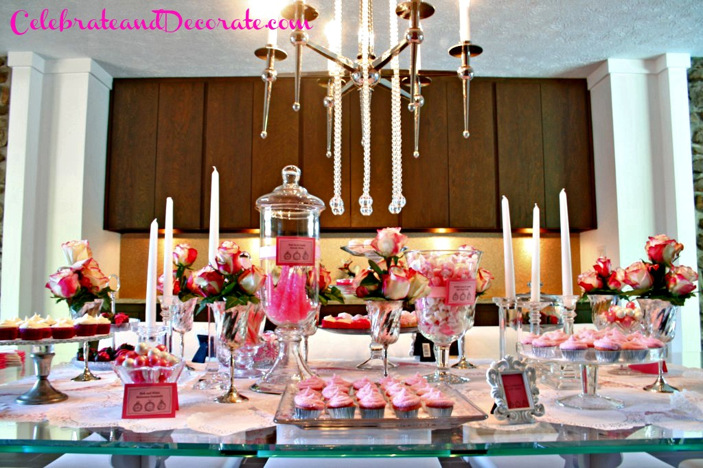Dessert Table in Pink and White and Chocolate