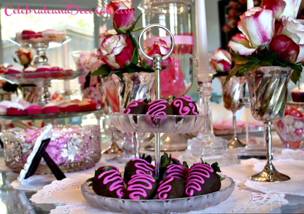 Pink and White and Chocolate Dessert Display