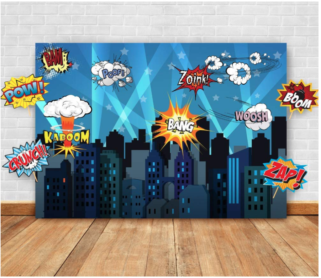 Super hero party backdrop