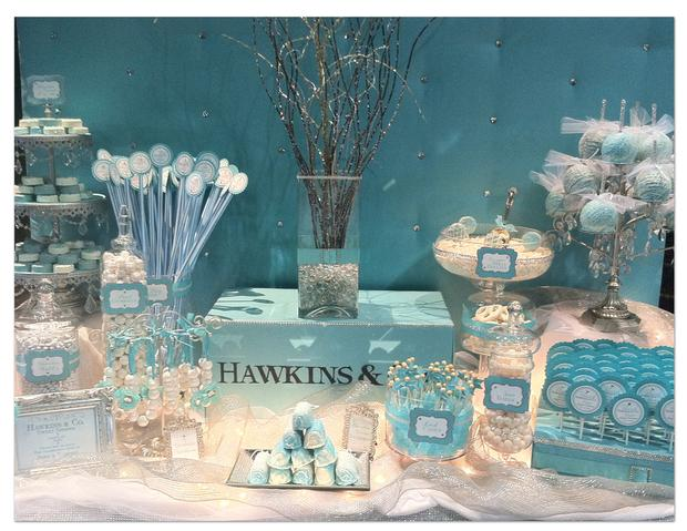 Tiffany inspired candy buffet, tiffany blue, party, bridal