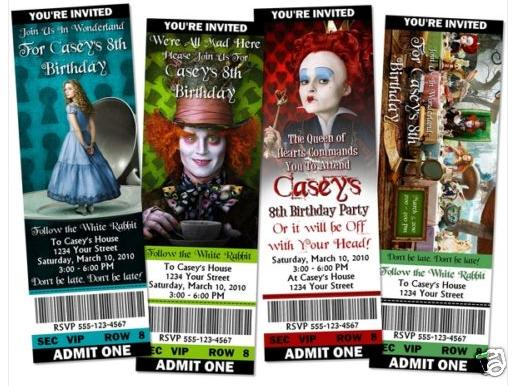 Alice in Wonderland invitations that are themed to the Johnny Depp movie.