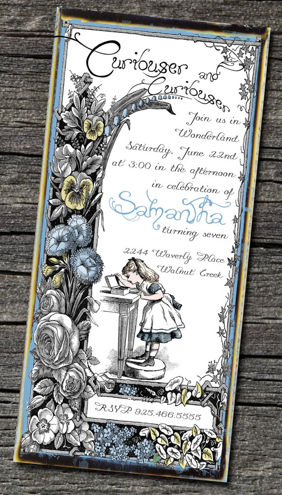 Alice in Wonderland, invitation, invite, baby shower invitation, birthday invitation