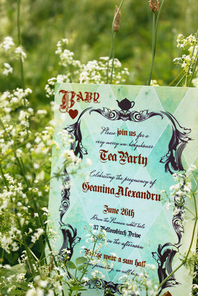 Alice in Wonderland invitation for baby shower.