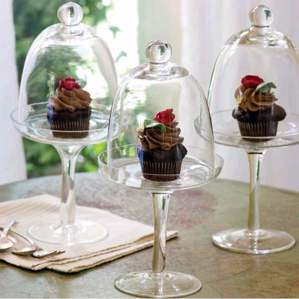 Cupcake in a cloche or glass stand.