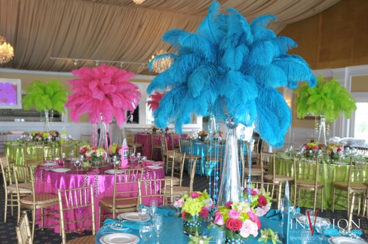 Bat Mitzvah, Bar Mitzvah, wedding, party, party decor, centerpiece, centerpieces, feathers, neon colors, tall centerpieces