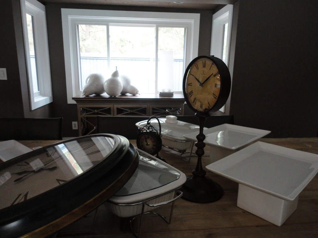 Clocks, time for a party, white dishes, casserole dish, casserole dishes.