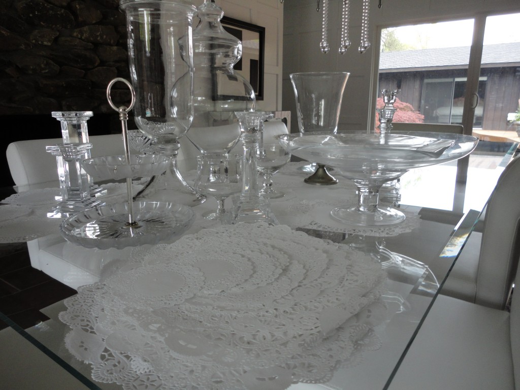 Crystal, white paper doilies, dining room, dining table, silver, white