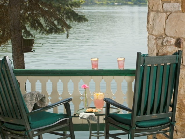 Pink Lemonade on the front porch sitting in rocking chairs overlooking the lake.