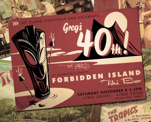 Tiki or Luau or Hawaiian party invitation for 40th birthday, this one to be held at a Tiki Bar