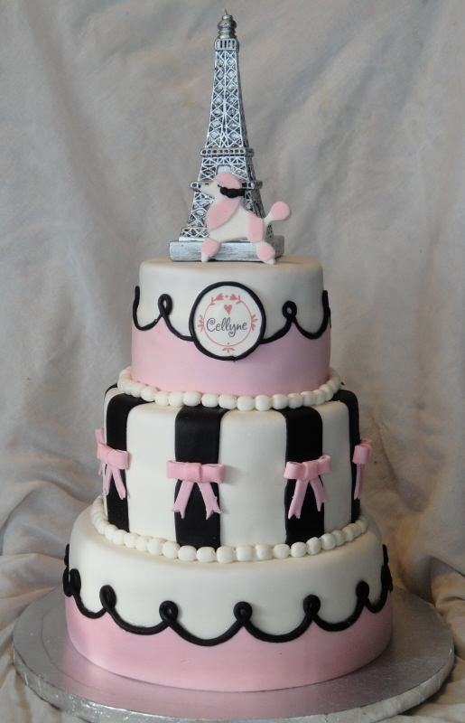 Paris pink poodle party cake