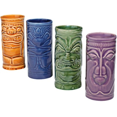 Tiki ceramic glasses, or mugs for tropical drinks at your Tiki party