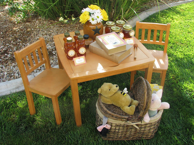Winnie the Pooh backdrop or party setting or tablescape