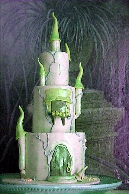 Green and white magic or mystical castle cake for a special occasion.