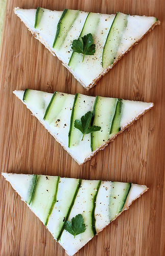 Open face cucumber sandwiches for a tea party - CelebrateandDecorate.com