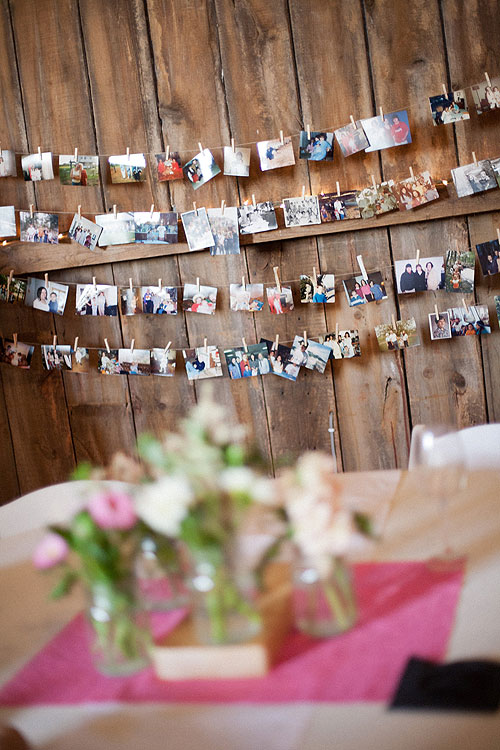 Garland of photos help with clothes pins for a wedding or party photo banners