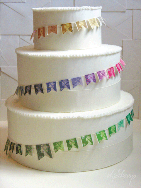 Vintage stamp mini garland for a cake