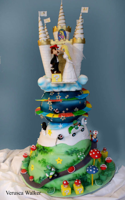 Mario - themed cake with a castle themed on the Super Mario Game
