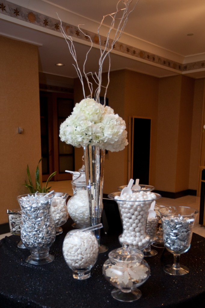 New Year's Eve Wedding, silver and white candy buffet