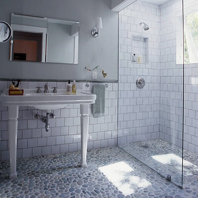 White subway tile shower with pebble floor celebrate decorate old style subway tile shower with modern glass door and wall and pebble floor planetlyrics Choice Image