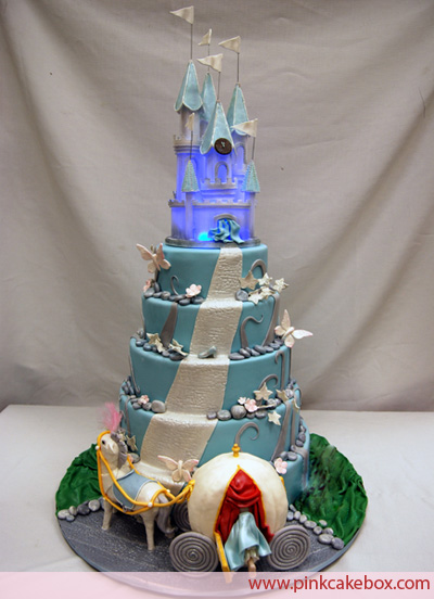 Cinderella wedding cake with castle on the top of the cake