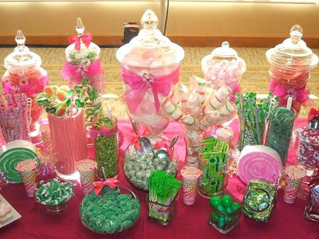 Wedding Candy buffet or candy bar in pink and green for a party