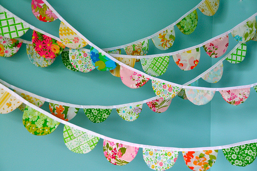Cute fabric banner or garland out of floral fabrics