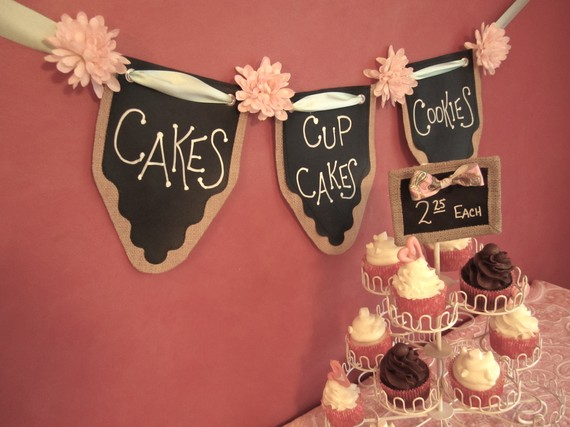 Desert party banner, chalkboard paint idea on burlap with ribbon for a party.