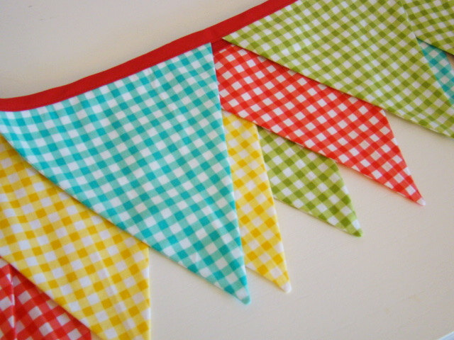 Pretty gingham banner or garland for a summer party or picnic
