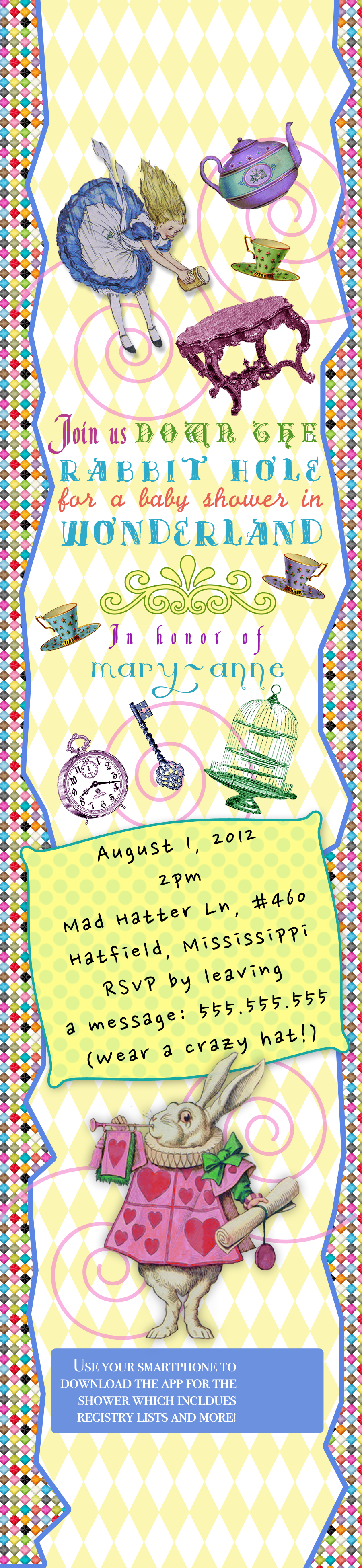 Alice in Wonderland Baby Shower ~ Invitations - Celebrate & Decorate
