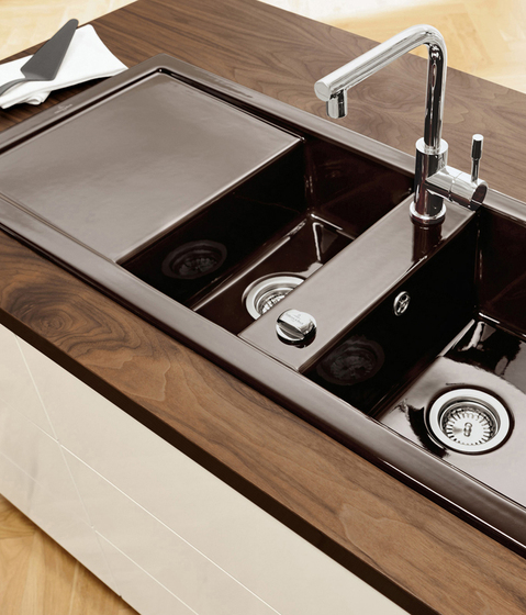 Contemporary brown ceramic kitchen sink with two bowls and contemporary faucet