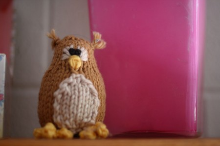 Cute knit or knitted owl toy