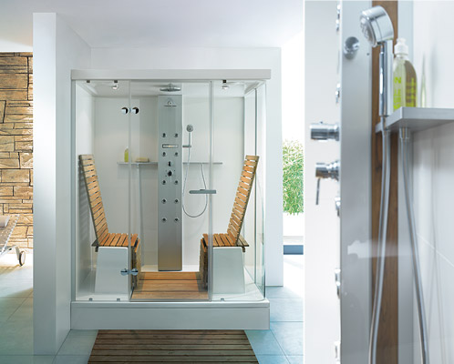 Modern bathroom shower with steam and seats