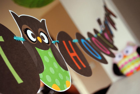 Owl themed party banner for birthday party