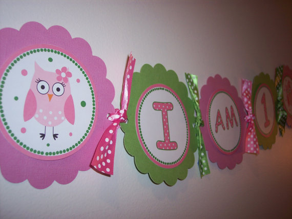 Pink and Green Owl Banner or garland for a Birthday party