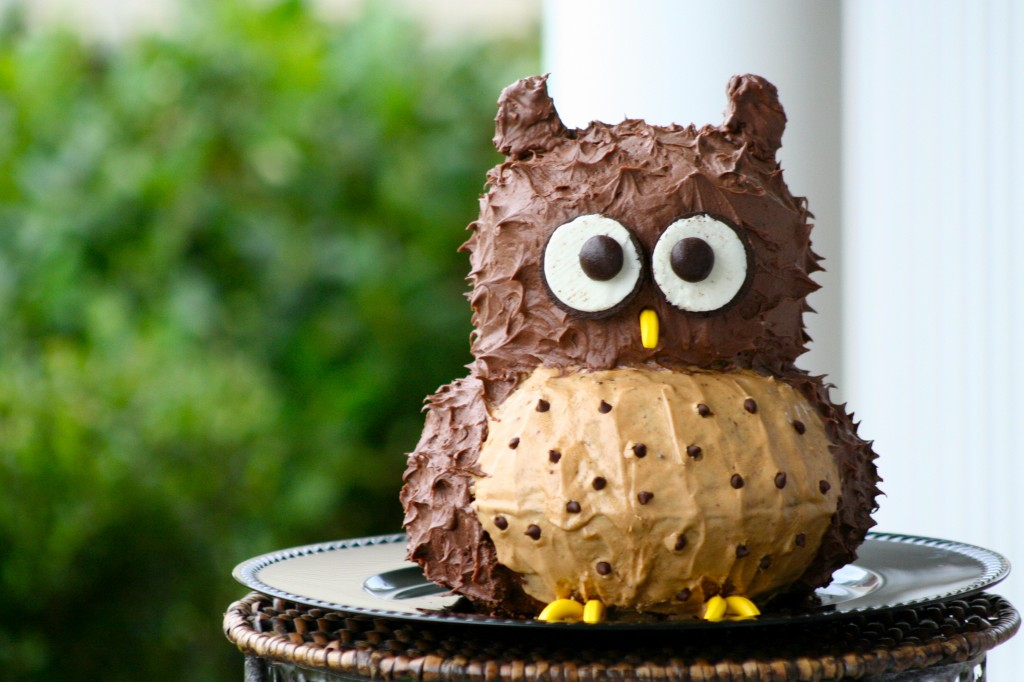 Chocolate and coffee buttercream frosted owl cake