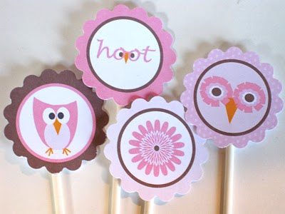 Owl party cupcake toppers or printables