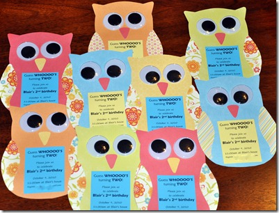 Owl invitations for an owl party.
