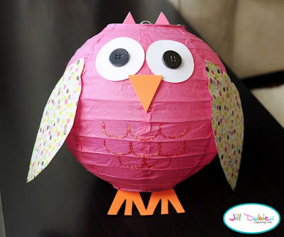 Make a paper lantern into an owl for Owl Party decorations