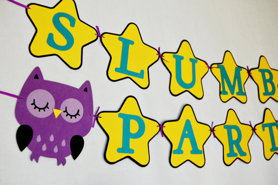 Slumber party with an Owl theme, decorations