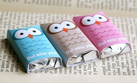 Owl candy bar covers for an owl party.