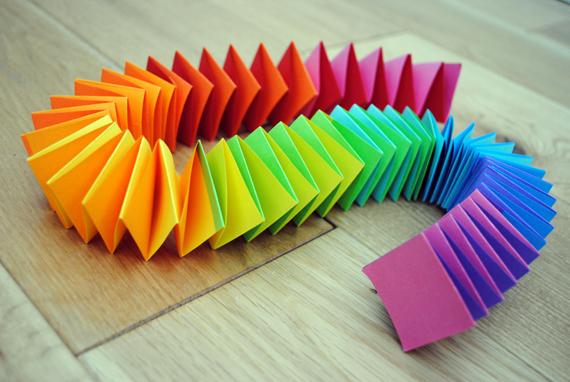 Rainbow folded paper garland, homemade