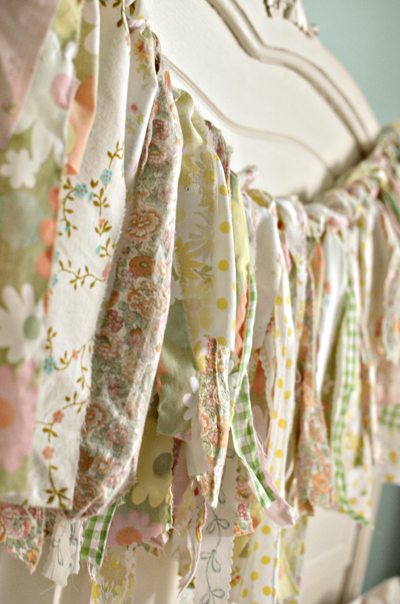 vintage or shabby chic ribbon or fabric garland