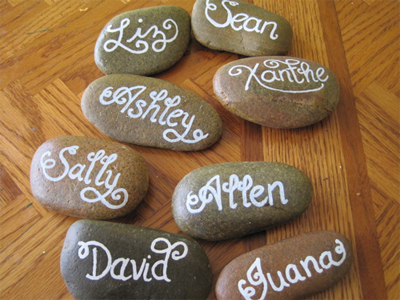 Hand written rock place cards