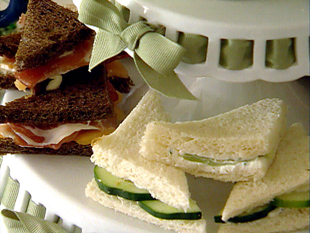 Finger or tea sandwiches presented on tiered cake plates-CelebrateandDecorate.com