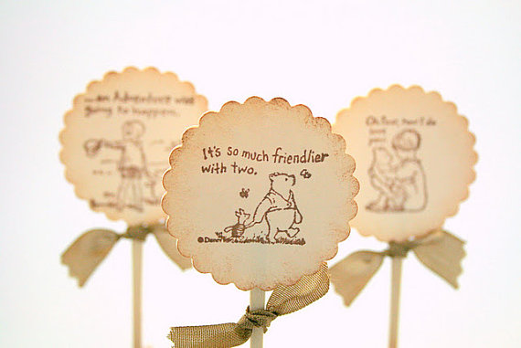 Vintage Winnie the Pooh Cupcake toppers available on Etsy for a party