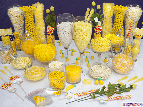 Yellow and white candy buffet for wedding shower or wedding favors or birthday party.